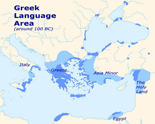 Coverage map of Hellenistic Greek