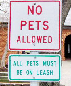 No pets allowed all pets must be on leash